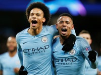 Leroy Sane is joined in celebration by Gabriel Jesus after scoring for Manchester City against Hoffenheim in their Champions League clash on December 12, 2018