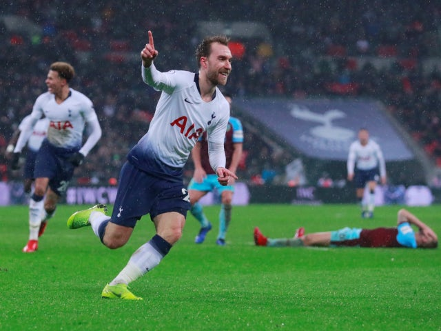 Christian Eriksen wheels away in delight after scoring a late winner for Tottenham Hotspur against Burnley on December 15, 2018