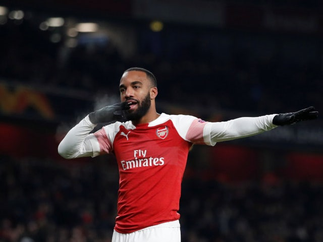 Alexandre Lacazette celebrates Arsenal's opening goal in their Europa League tie with Qarabag FK on December 13, 2018