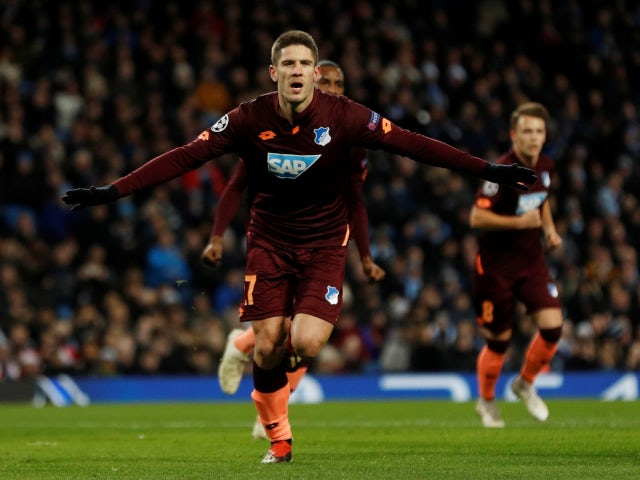 Andrej Kramaric celebrates opening the scoring for Hoffenheim in their Champions League tie with Manchester City on December 12, 2018