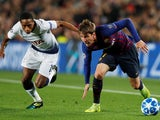 Barcelona's Juan Miranda tussles with Tottenham Hotspur's Kyle Walker-Peters on December 11, 2018.