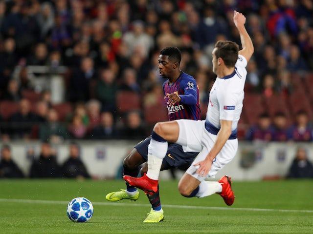 Barcelona's Ousmane Dembele in action against Tottenham Hotspur on December 11, 2018.