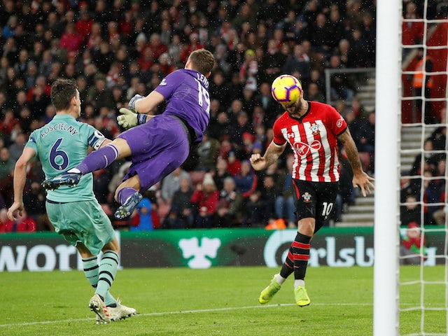 Charlie Austin puts the Saints ahead for a third time during the Premier League game between Southampton and Arsenal on December 16, 2018