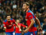 CSKA Moscow forward Fedor Chalev celebrates scoring against Real Madrid on December 12, 2018.