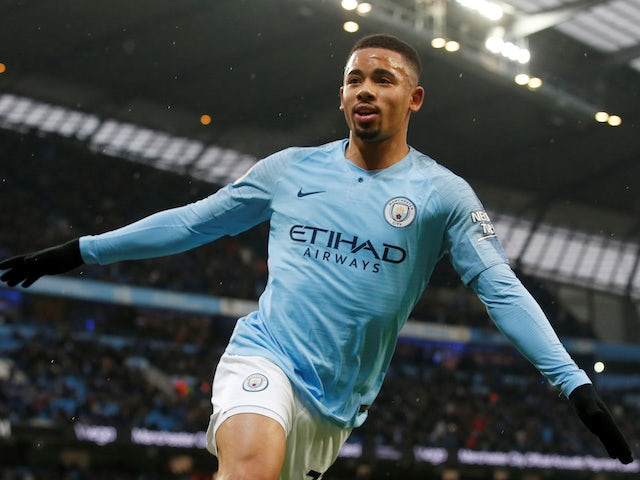 Gabriel Jesus scores the opener during the Premier League game between Manchester City and Everton on December 15, 2018