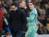 Hector Bellerin goes off injured during the Premier League game between Southampton and Arsenal on December 16, 2018