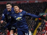 Jesse Lingard gets the equaliser during the Premier League game between Liverpool and Manchester United on December 16, 2018