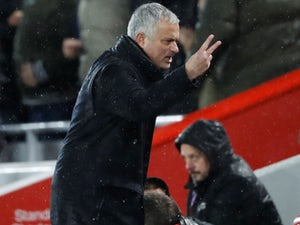 Jose Mourinho reacts to the Reds going back ahead during the Premier League game between Liverpool and Manchester United on December 16, 2018