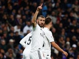 Real Madrid striker Karim Benzema celebrates scoring against Rayo Vallecano on December 15, 2018