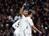 Real Madrid striker Karim Benzema celebrates scoring against Rayo Vallecano on December 15, 2018