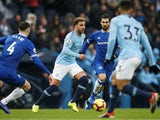Kyle Walker and Michael Keane in action during the Premier League game between Manchester City and Everton on December 15, 2018