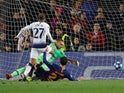 Lucas Moura scores for Tottenham Hotspur against Barcelona on December 11, 2018.