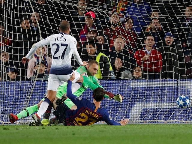 Lucas Moura scores for Tottenham Hotspur against Barcelona on December 11, 2018.