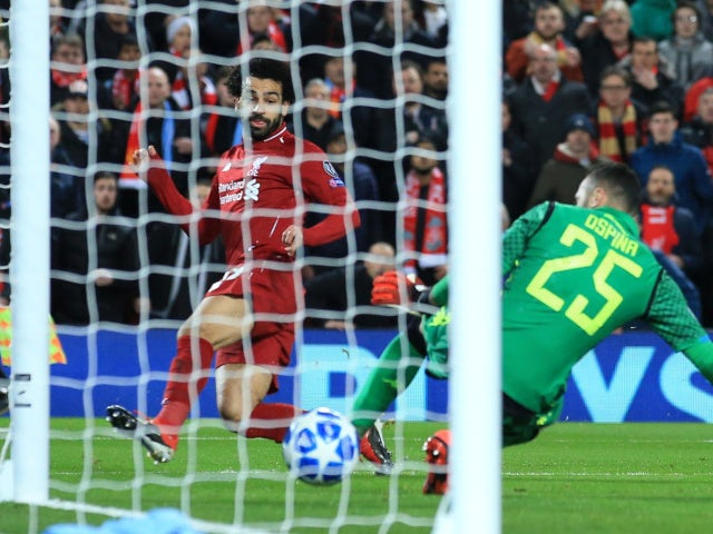 Liverpool's Mohamed Salah opens the scoring against Napoli in the Champions League on December 11, 2018.