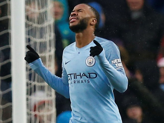 Raheem Sterling celebrates scoring during the Premier League game between Manchester City and Everton on December 15, 2018