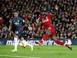 Sadio Mane gets the opener during the Premier League game between Liverpool and Manchester United on December 16, 2018