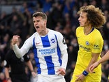 Solly March pulls one back during the Premier League game between Brighton & Hove Albion and Chelsea on December 16, 2018