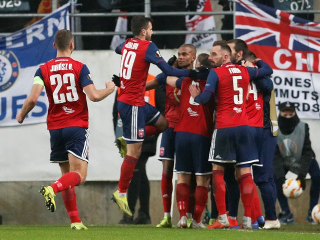 Videoton celebrate taking the lead against Chelsea in the Europa League on December 13, 2018.