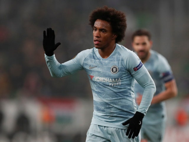 Chelsea's Willian celebrates scoring against Videoton in the Europa League on December 13, 2018.