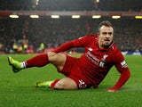 Xherdan Shaqiri channels David Brent after putting Liverpool back ahead during the Premier League game between Liverpool and Manchester United on December 16, 2018