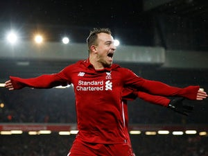 Xherdan Shaqiri gets his second and the home side's third during the Premier League game between Liverpool and Manchester United on December 16, 2018
