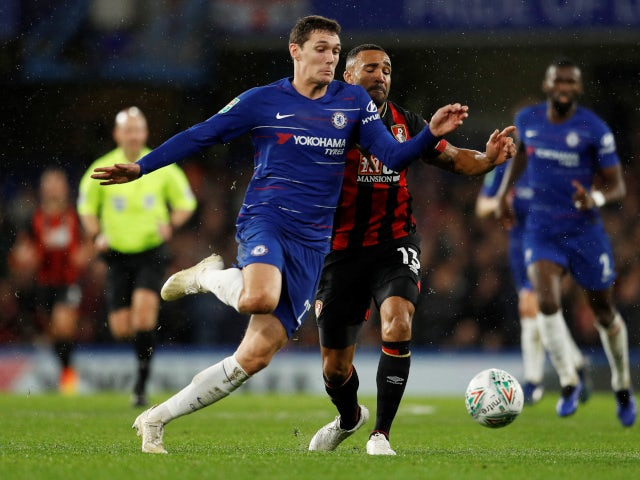 Andreas Christensen wins the ball off Callum Wilson in Chelsea's EFL Cup clash with Bournemouth on December 19, 2018.