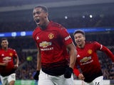 Manchester United winger Anthony Martial celebrates scoring against Cardiff City on December 22, 2018
