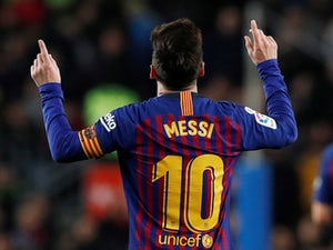 Barcelona's Lionel Messi celebrates scoring against Celta Vigo on December 22, 2018.