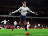 Tottenham Hotspur's Dele Alli celebrates scoring against Arsenal in their EFL Cup quarter-final on December 19, 2018