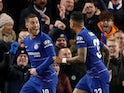 Eden Hazard celebrates after scoring for Chelsea against Bournemouth in the EFL Cup on December 19, 2018.