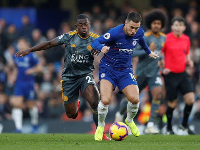 Chelsea's Eden Hazard gets away from Leicester City's Nampalys Mendy on December 22, 2018.