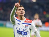 Houssem Aouar in action for Lyon on December 16, 2018