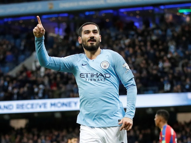 Manchester City midfielder Ilkay Gundogan celebrates scoring during his side's Premier League clash with Crystal Palace on December 22, 2018