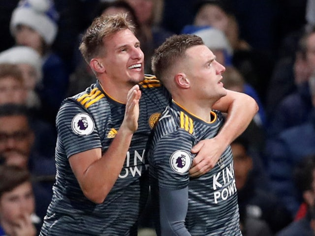 Jamie Vardy celebrates scoring for Leicester City against Chelsea in the Premier League on December 22, 2018.