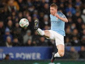 Kevin De Bruyne in action during the EFL Cup quarter-final game between Leicester City and Manchester City on December 18, 2018