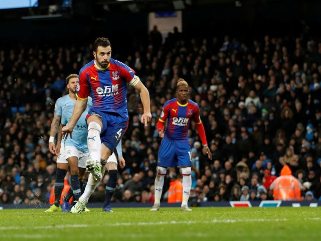 Luka Milivojevic scores Crystal Palace's third goal against Manchester City on December 22, 2018