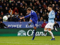 Leicester City's Marc Albrighton scores against Manchester City in the EFL Cup on December 18, 2018