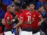 Marcus Rashford celebrates scoring during the Premier League game between Cardiff City and Manchester United on December 22, 2018