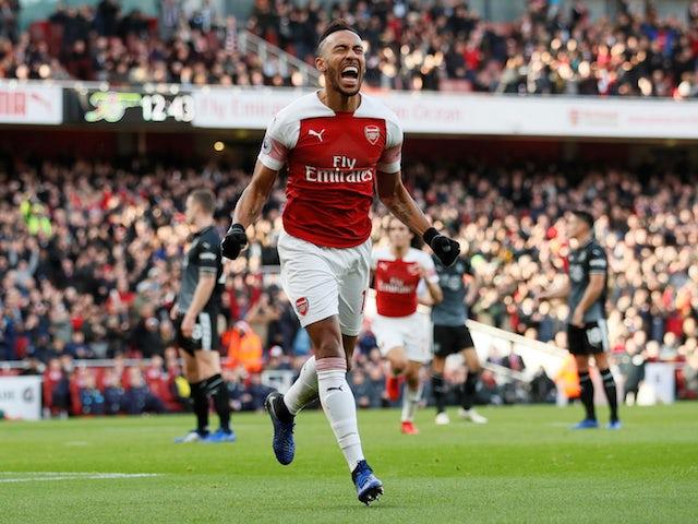 Arsenal striker Pierre-Emerick Aubameyang celebrates opening the scoring against Burnley on December 22, 2018