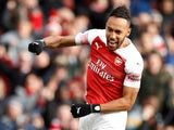 Arsenal striker Pierre-Emerick Aubameyang celebrates scoring against Burnley on December 22, 2018