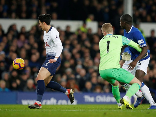 Tottenham Hotspur's Son Heung-min benefits from a mistake in the Everton defence on December 23, 2018.