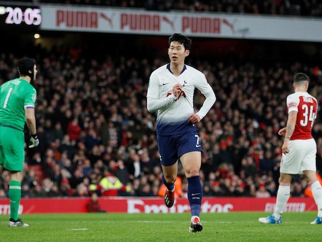 Tottenham Hotspur's Son Heung-min celebrates opening the scoring against Arsenal in their EFL Cup quarter-final on December 19, 2018