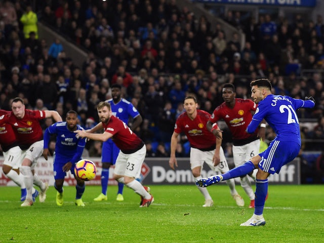 Cardiff City midfielder Victor Camarasa scores from the spot during his side's Premier League clash with Manchester United on December 22, 2018