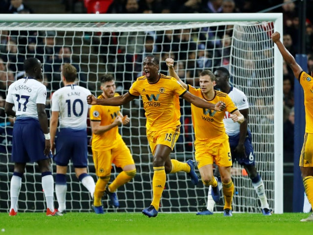 Willy Boly celebrates scoring for Wolverhampton Wanderers in their Premier League win over Tottenham Hotspur on December 29, 2018