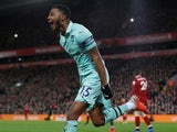 Arsenal's Ainsley Maitland-Niles celebrates scoring against Liverpool on December 29, 2018