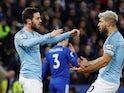 Bernardo Silva celebrates giving Manchester City the lead against Leicester City on December 26, 2018.