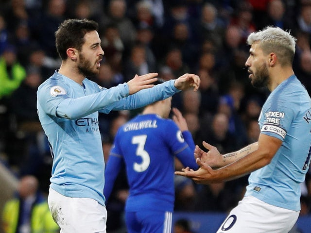 Bernardo Silva celebrates giving Manchester City the lead against Leicester City on December 26, 2018.