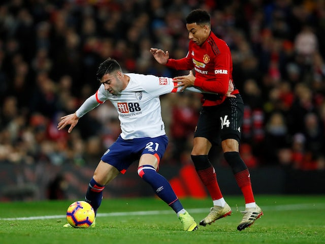 Manchester United's Jesse Lingard tangles with Bournemouth's Diego Rico on December 30, 2018.