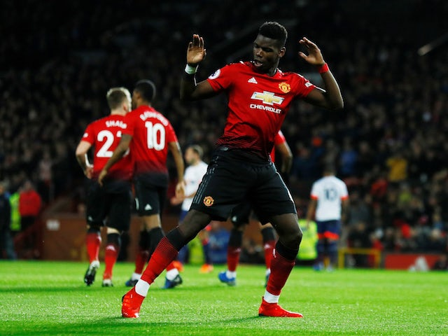 Manchester United midfielder Paul Pogba celebrates scoring against Bournemouth on December 30, 2018.