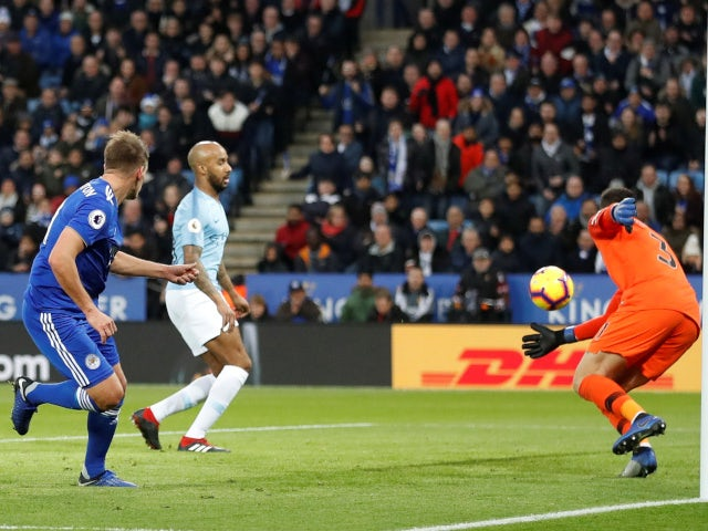 Leicester City's Marc Albrighton scores against Manchester City in the Premier League on December 26, 2018.